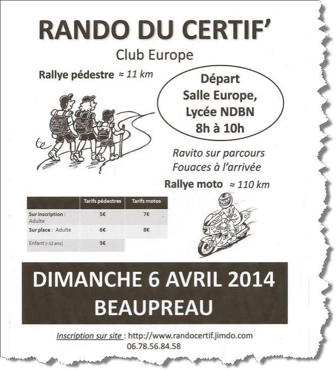 RANDO DU CERTIF et RALLYE MOTO DEPART de  BEAUPREAU (49) Dimanche 6 avril 2014